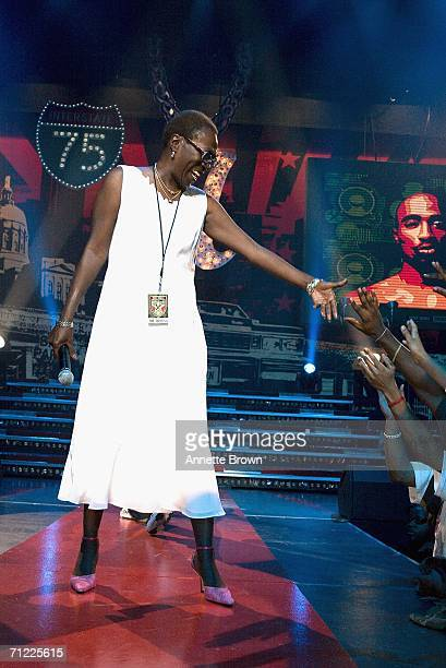 Tupac Shakur's mother Afeni Shakur speaks to the audience during a tribute her son at the Nick Cannon Hosts Boost Mobile Rockcorps Volunteers Concert...