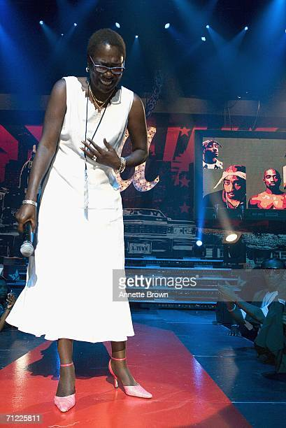 Tupac Shakur's mother Afeni Shakur speaks to the audience during a tribute to her son at the Nick Cannon Hosts Boost Mobile Rockcorps Volunteers...