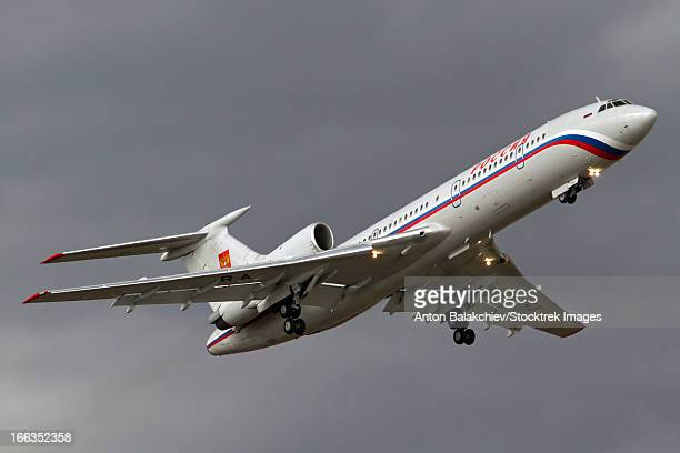 A Tupolev Tu-154M of the Russian State Transport Company in flight over Bulgaria.