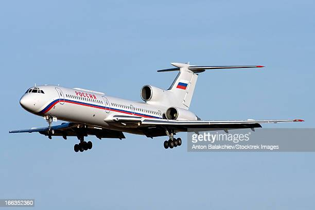 A Tupolev Tu-154M on final approach to Sofia Airport, Bulgaria.