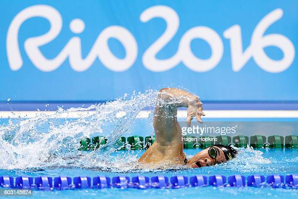 Tupou Neiufi of New Zealand competes in the Women's 100m Freestyle S9 heat on day 5 of the Rio 2016 Paralympic Games at Olympic Stadium on September...