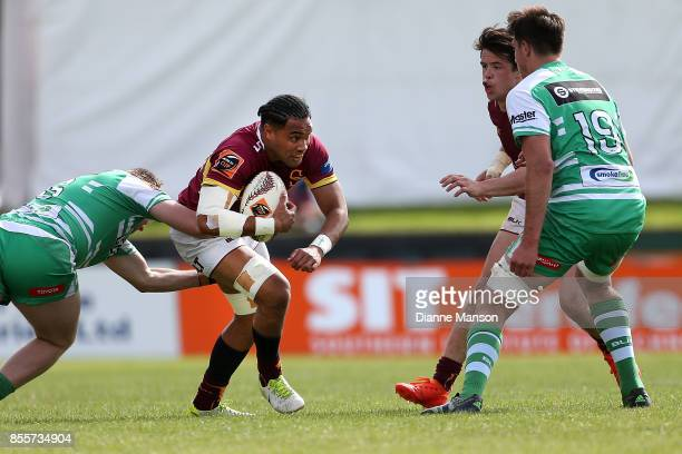 Tupou Sopoaga of Southland on the charge during the round seven Mitre 10 Cup match between Southland and Manawatu on September 30, 2017 in...