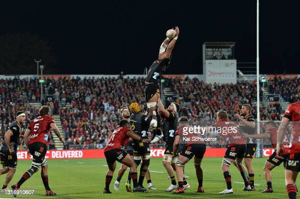 Tupou Vaa'i of the Chiefs takes the ball in the lineout during the Super Rugby Aotearoa Final match between the Crusaders and the Chiefs at...