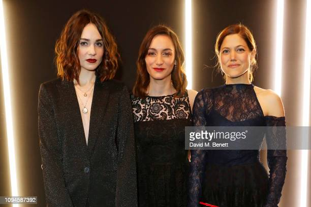 Tuppence Middleton Cara Horgan and Charity Wakefield attend the dunhill PreBAFTA dinner at dunhill Bourdon House on February 6 2019 in London England