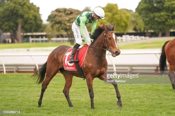 Turaath ridden by John Allen returns to the mounting yard after winning the Ladbrokes Bet Ticker Handicap at Ladbrokes Park Lakeside Racecourse on...