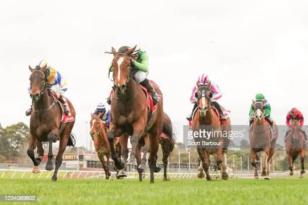 Turaath ridden by John Allen wins the Ladbrokes Bet Ticker Handicap at Ladbrokes Park Lakeside Racecourse on July 21, 2021 in Springvale, Australia.