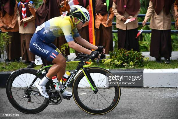 Turakit Boonratanathanakorn of Thailand Continental Cycling Team competes during stage 8 of the Tour de Singkarak 2017 Padang PariamanAgam 1352 km on...