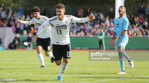 Turan Calhanoglu of Germany celebrates the forth goal during the Four Nations Tournament match between U17 Germany and Israel at Stadium am...