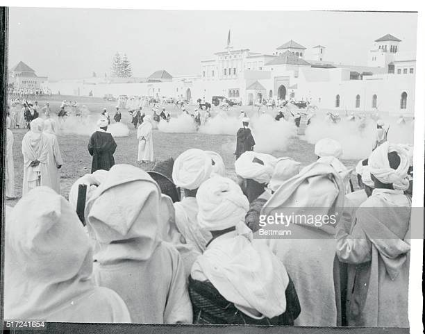 Turbaned Berber tribesmen from the Hinterlands of Morocco celebrate the Moslem Festival of Aid el Kebir before the Sultan's Palace in Rabat Prayers...