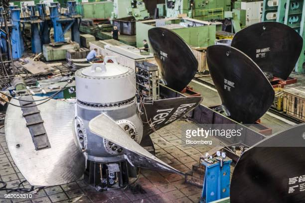 Sparks fly as workers manufacture turbine casing at the Turboatom OJSC plant in Kharkiv Ukraine on Friday June 22 2018 Turboatom OJSC is a power...
