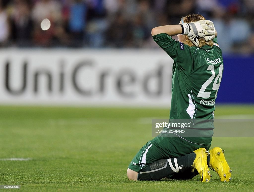 FFC Turbine Potsdam's goalkeeper Anna Felicitas Sarholz reacts during their UEFA women's Champions League final football match beetwen Olympique Lyonnais and FFC Turbine Potsdam at the Coliseum Alfonso Perez stadium in Getafe on May 20, 2010. near Madrid.