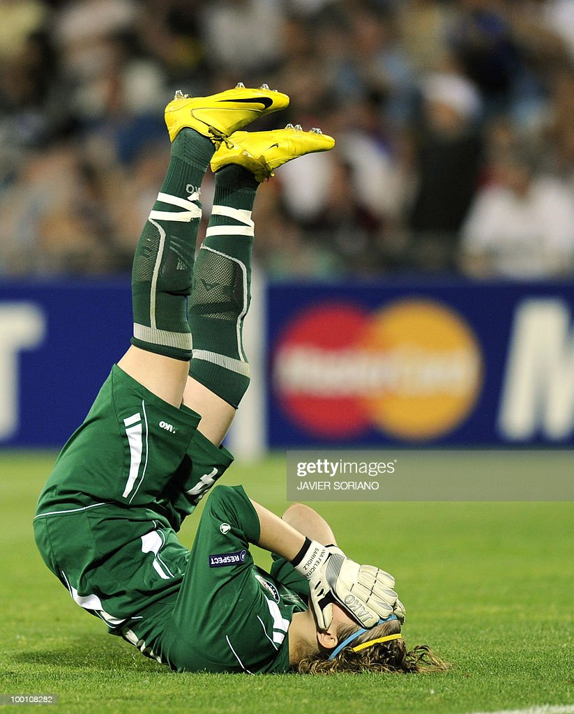 FFC Turbine Potsdam's goalkeeper Anna Felicitas Sarholz reacts during their UEFA Women's Champions League final football match beetwen Olympique Lyonnais and FFC Turbine Potsdam at the Coliseum Alfonso Perez stadium in Getafe near Madrid on May 20, 2010.