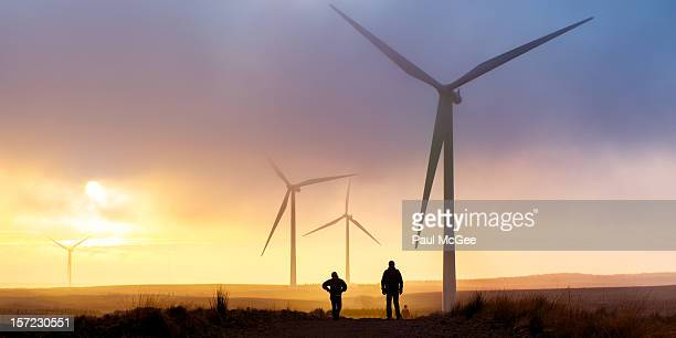 turbine trail - windmills stock photos and pictures