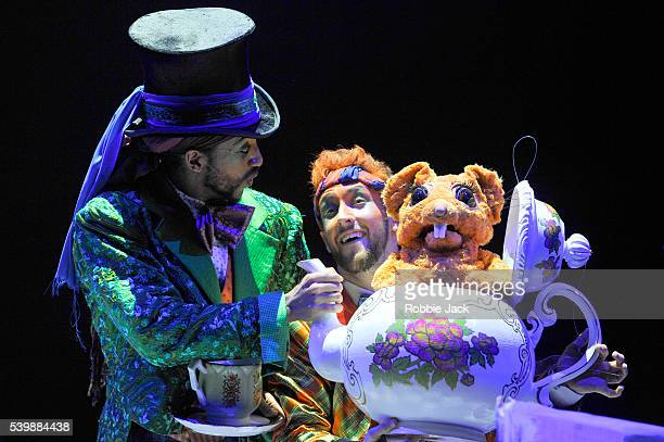 Turbo as The Mad Hatter and Shaun Smith as The March Hare in Zoo Nation Dance Company's The Mad Hatter's Tea Party directed by Kate Prince at the...