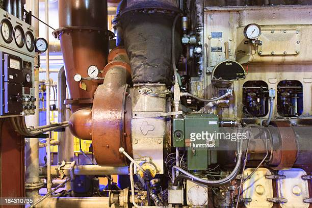 Turbocharger and control panel on diesel engine at an electric generation plant