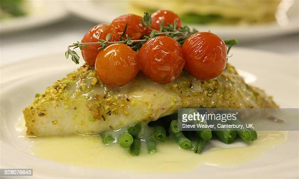 Turbot Pistachio Butter Sauce, Roasted Tomatoes