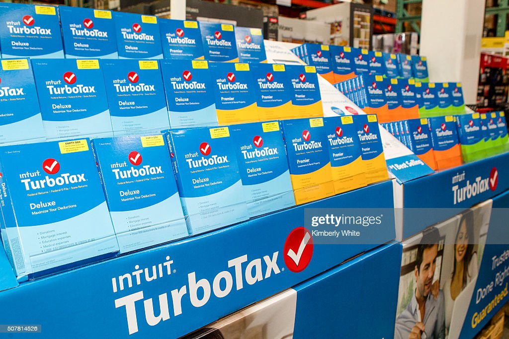 TurboTax products sit on display at Costco on January 28