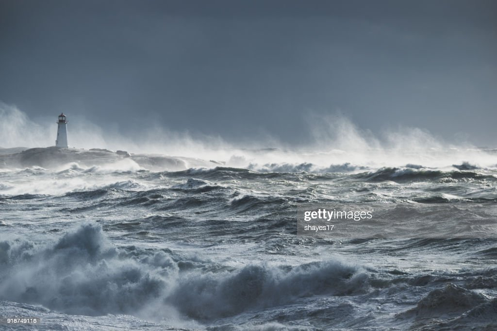 Faro oceanico turbolento : Foto stock