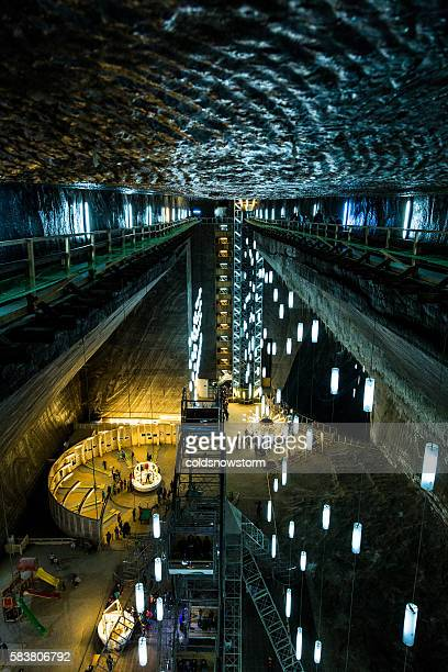 turda salt mine in turda, romania - underground mining stock photos and pictures
