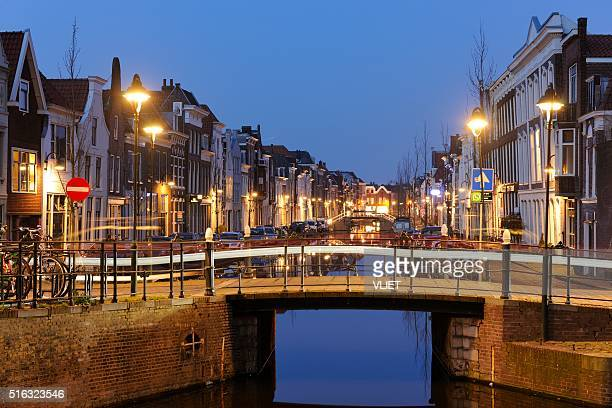 Turfmarkt canal in the city centre of Gouda at night