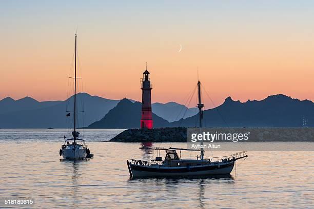 Turgutreis Lighthouse at sunset,Bodrum,Turkey
