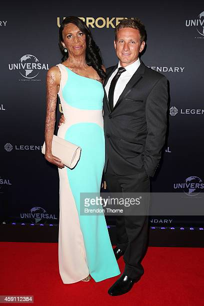 Turia Pitt and Michael Hoskin arrive at the world premiere of Unbroken at the State Theatre on November 17 2014 in Sydney Australia