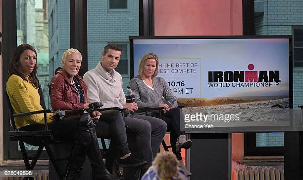 Turia Pitt Heather Jackson Tim O'Donnell and Mirinda Carfrae attend The Build Series to discuss 'Ironman World Championship' at AOL HQ on December 6...