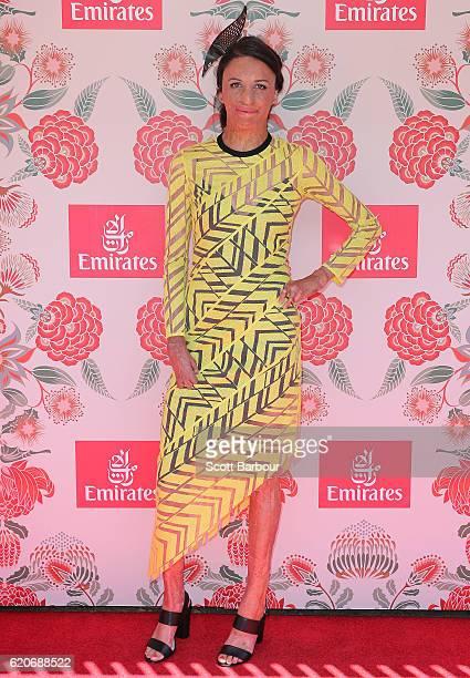 Turia Pitt poses at the Emirates Marquee on Oaks Day at Flemington Racecourse on November 3 2016 in Melbourne Australia