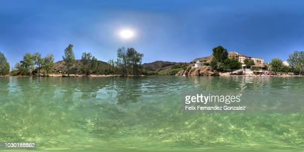 turia river in gestalgarequirectangular panorama of turia river in gestalgar, valencia, spain. - esmeralda gonzalez fotografías e imágenes de stock