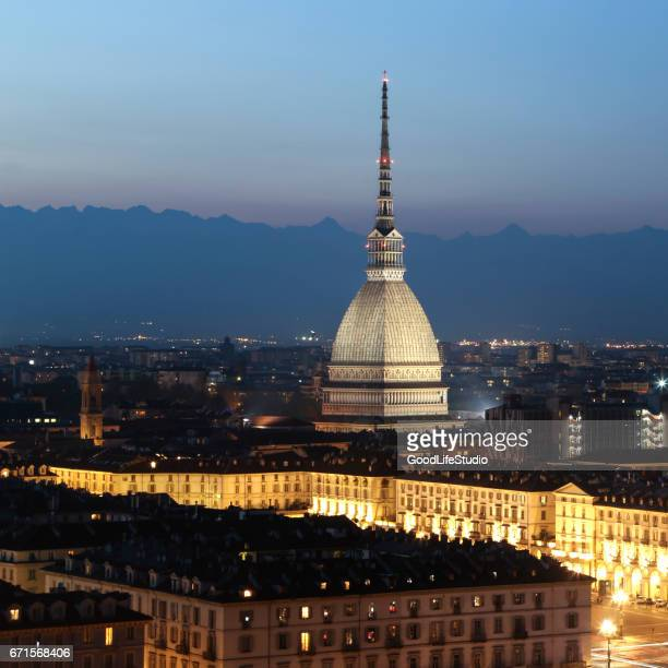 turin at night - turin stock pictures, royalty-free photos & images