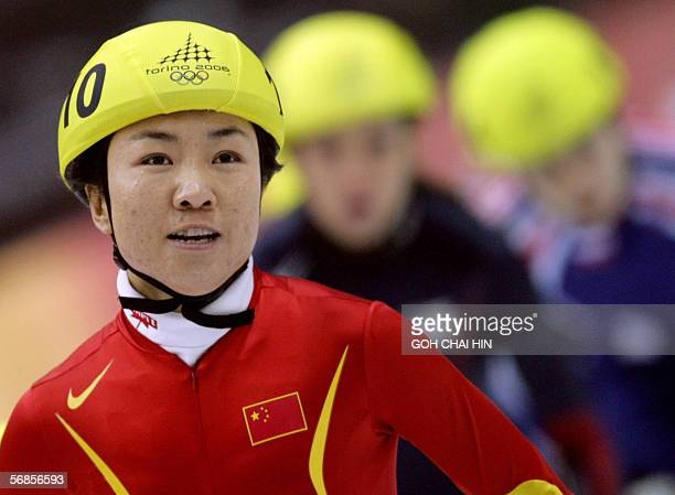 China's Tianyu Fu is seen during the ladies' 500 m Semifinal short track competition at the 2006 Winter Olympics 15 February 2006 at the Palavela in...