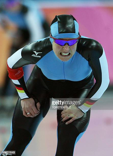 Claudia Pechstein of Germany reacts after the speed skating ladies 3000m race at the 2006 Winter OLympics 12 February 2006, in the Oval Lingotto,...