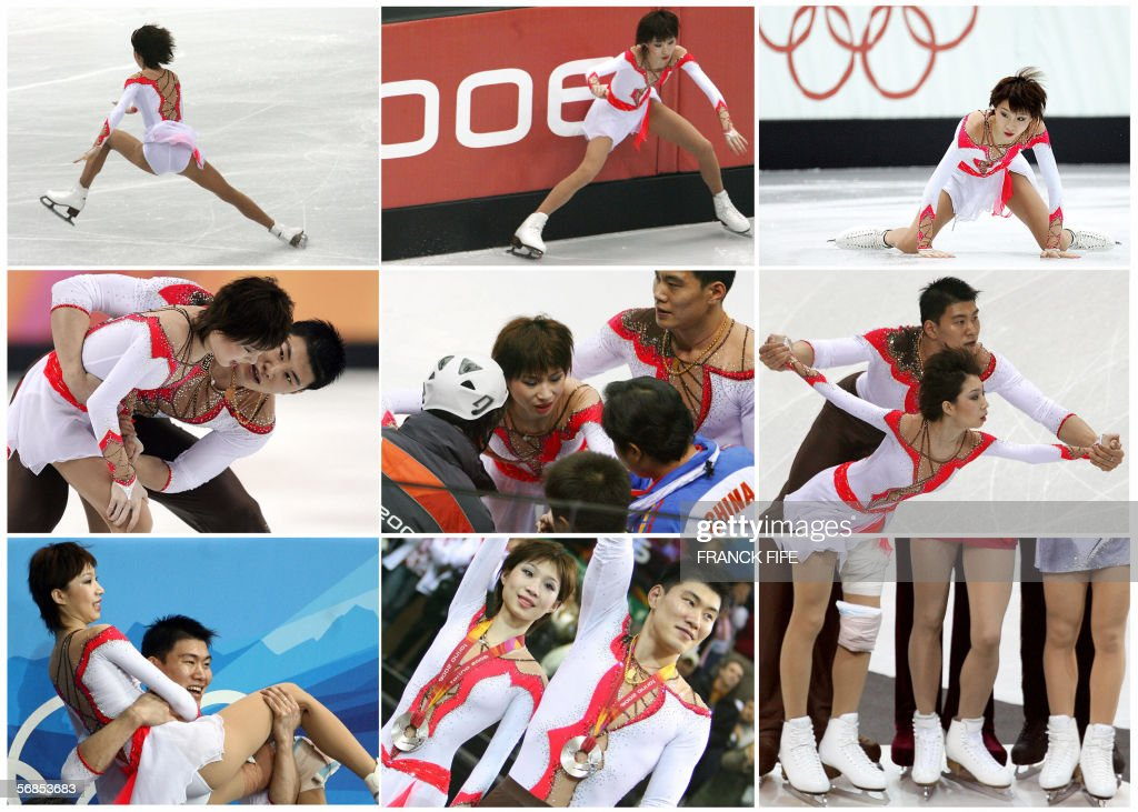 Combo realized 15 February 2006 shows different stages of the performance of Chinese skater Zhang Dan with partner Zhang Hao during the Pairs Free Skating program at the 2006 Winter Olympics, 13 February 2006 at the Palavela in Turin. After her fall, Zhang Dan was helped off the ice by her partner. After several minutes of confusion, during which the pair consulted their coaches, Zhang Dan and Zhang Hao decided to continue which gave them a personal best score to hold their second place from the short programme. China's Zhang Dan and Zhang Hao's fresh start after a bad fall during the opening of the figure skating free skate final at the Palavela on Monday night was ratified 14 February 2006 by the International Skating Union (ISU). The pair is now targetting world domination after their courageous free programme gave their country a first ever Olympic Games figure skating silver.