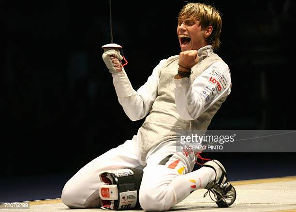 German Peter Joppich celebrates his victory against Italian Andrea Baldini in the final of the men's foil individual competition during the 2006...