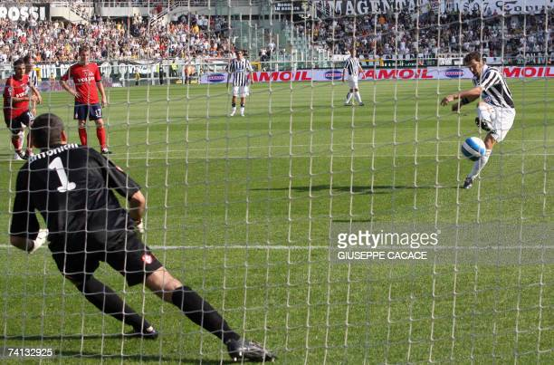 Juventus' captain Alessandro Del Piero kicks and scores a penalty against Bologna during their Serie B match at Olympic Stadium in Turin, 12 May...