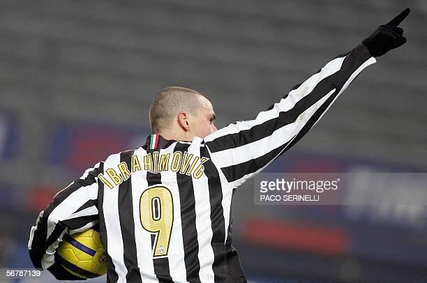 Juventus' forward Zlatan Ibrahimovic celebrates after scoring a goal against Parma during their serie A football match JuventusParma at Delle Alpi...
