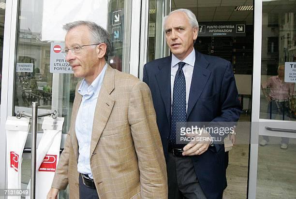 Juventus's doctor Riccardo Agricola and club vicepresident Roberto Bettega leave Molinette Hospital in Turin 28 June 2006 where Juventus's team...