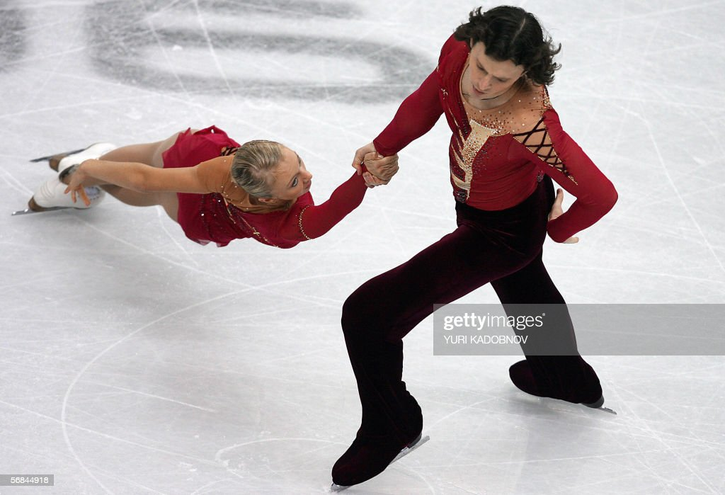 Russian pair Tatiana Totmianina and Maxim Marinin perform in the Pairs Free Skating program during the Figure skating competition at the 2006 Winter Olympics, 13 February 2006 at the Palavela in Turin.