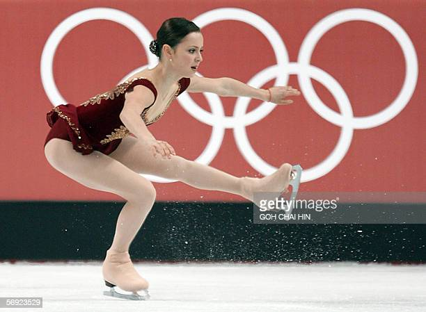 Silver medalist US Sasha Cohen performs in the ladies free skating program of the Figure skating competition at the 2006 Winter Olympics 23 February...