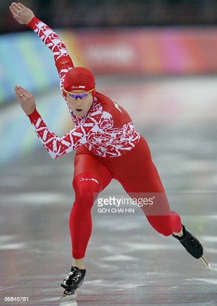Svetlana Zhurova of Russia skates during the Ladies' 500m speed skating competition at the 2006 Winter Olympics 14 February 2006 in the Lingotto Oval...