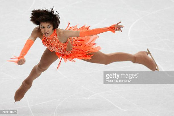 Ukraine's Elena Liashenko performs in the Ladies short program during the Figure Skating competition at the 2006 Winter Olympics 21 February 2006 at...