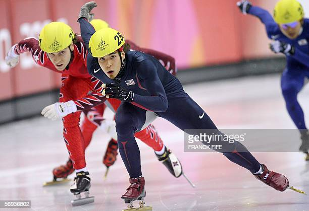 US Apollo Ohno competes in the men's 500m final during the short track competition at the 2006 Winter Olympics 25 February 2006 at the Palavela in...