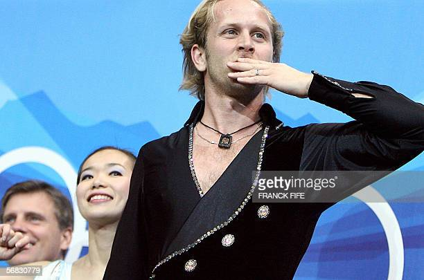 US John Baldwin blows a kiss as he waits for the results in the kiss and cry zone after performing with partner Rena Inou in the Pairs Short Program...