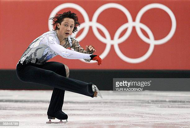 US Johnny Weir performs in the men's short program during the Figure skating competition at the 2006 Winter Olympics 14 February 2006 at the Palavela...