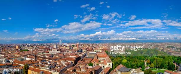 Turin, von oben gesehen. Piemont, Nord-Italien (4 Aufnahmen genäht)