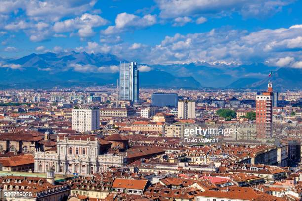 turin seen from above. piedmont, northern italy - turin stock pictures, royalty-free photos & images