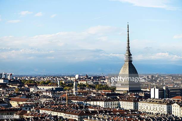 turin skyline with mole antonelliana - turin stock pictures, royalty-free photos & images