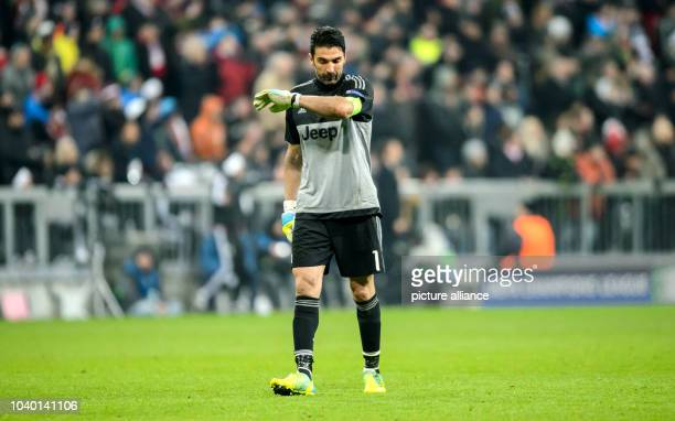 Turin's goalkeeper Gianluigi Buffon during the Champions League match between FC Bayern Munich and Juventus Turin at Allianz Arena in Munich Germany...
