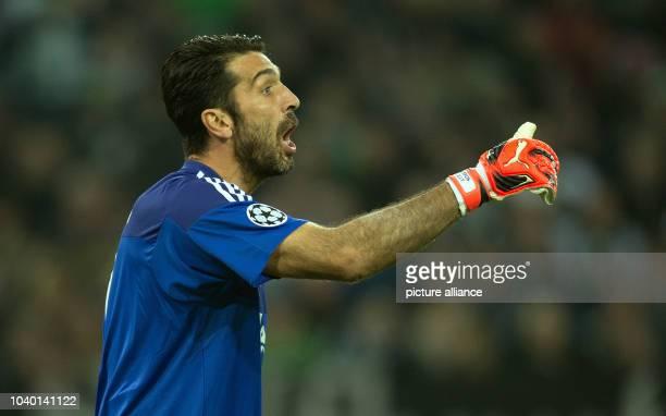 Turin's goalkeeper Gianluigi Buffon reacts during the Champions League group D soccer match Borussia Moenchengladbach vs Juventus Turin in...