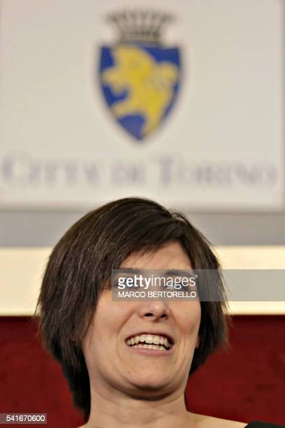 Turin's newly elected mayor Chiara Appendino candidate of the Five Star Movment delivers a speech at the city hall of Turin on June 20 2016 a day...